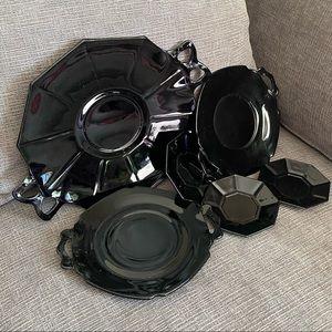 Vtg lot of 6 Black glass plates